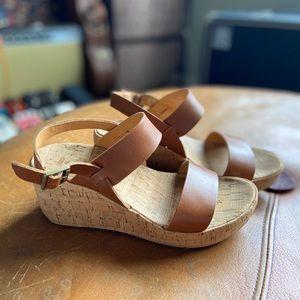 Kork-Ease 7M Brown Leather Wedge Cork Sandal